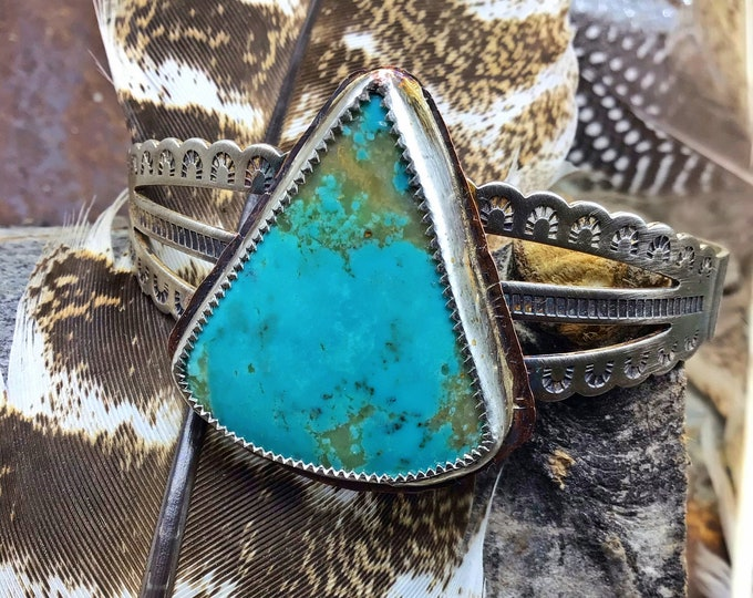 Pilot mountain turquoise statement sterling embossed cuff bracelet by Weathered Soul, cowgirl fashion,western style