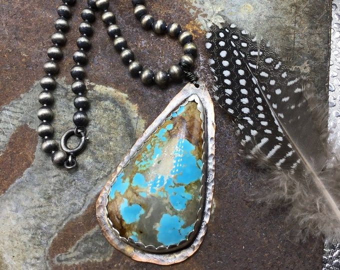 Huge hunks turquoise pendant Nevada turquoise necklace with sterling ball chain, classic statement piece very big and bold