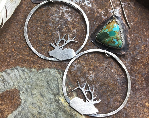 Bugling elk sterling and turquoise hoop earrings by Weathered Soul, artisan hoops, nature lover, wildlife, elk jewelry,USA crafted