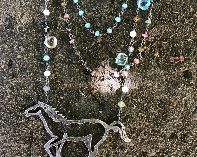 She ran calling Wildfire  necklace by Weathered Soul, running  sterling horse with leather, turquoise, moonstone and pearls, classic,USA