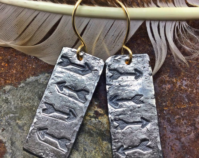 Wandering arrows earrings by Weathered Soul, rustic PMC fine silver earrings with a touch of bronze ear wires, rustic,artisan, cowgirl,USA