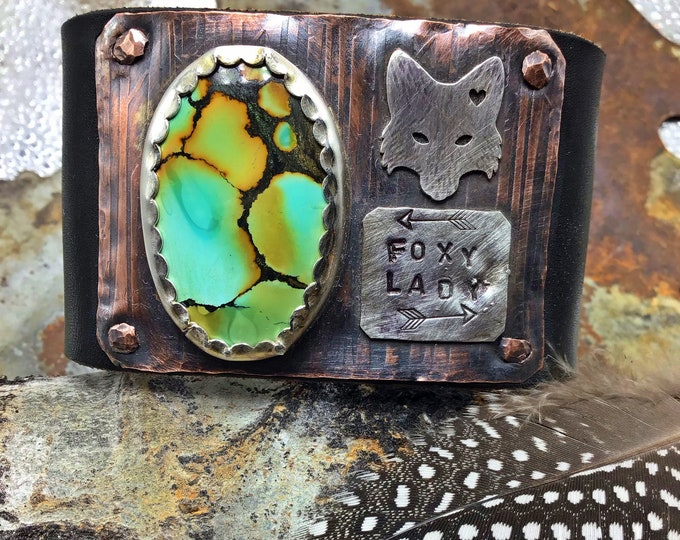 Absolutely wild foxy lady turquoise and leather OOAK cuff bracelet by Weathered Soul, wide 2 inch black leather buffalo nickel snap, sassy