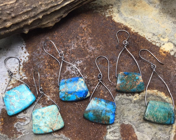 Short, medium, or long length,you choose Imperial Jasper turquoise stones,all stones vary with sterling wire,artisan crafted USA,cowgirl