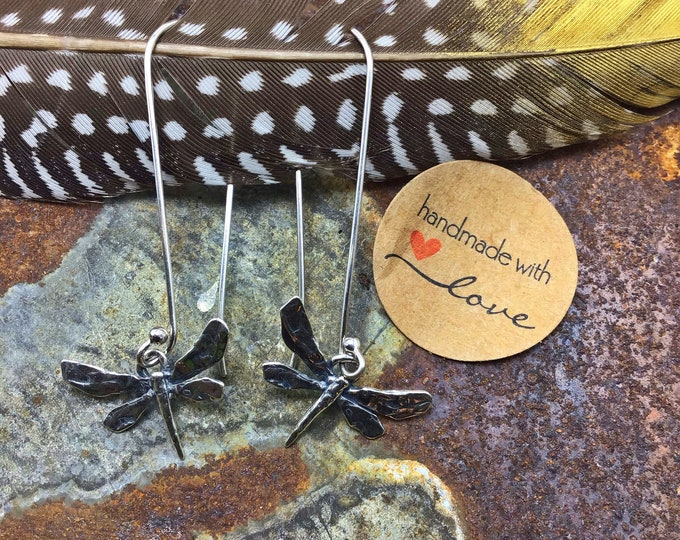 Long sweet rustic dragonfly dangles drop daintily down the neckline in silver by Weathered soul, nature lover, insects, Summer style