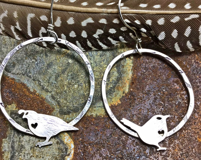 Sweet bird lover's paradise earrings by Weathered Soul, little quail and meadowlark sing perched on these embossed arrowed hoops, large