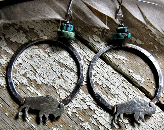 Made to order Bison roaming hoops by Weathered Soul Jewelry, Buffalo, cowgirl, western, rustic, outdoors, artisan jewelry, turquoise, USA