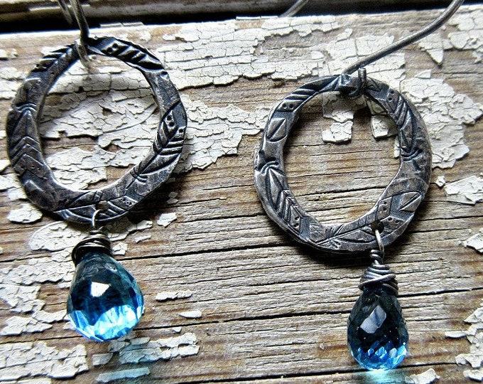 Dainty feather embossed hoops with wire wrapped blue topaz teardrop dangle stone, Weathered Soul, artisan hoops, urban, minimalist, cowgirl