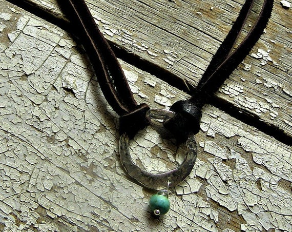 Fun and simple sweet little choker hammered sterling hoop with a touch of turquoise and hand made silver closure , little fringe tassell