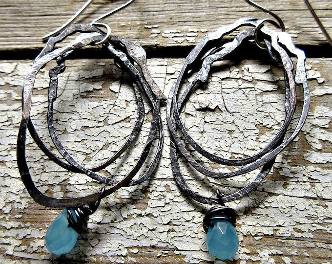 My Nest Hoops by Weathered Soul Jewelry, rustic multiple sterling hoops with Chalcedony, cowgirl, urban chic, artisan jewelry, USA