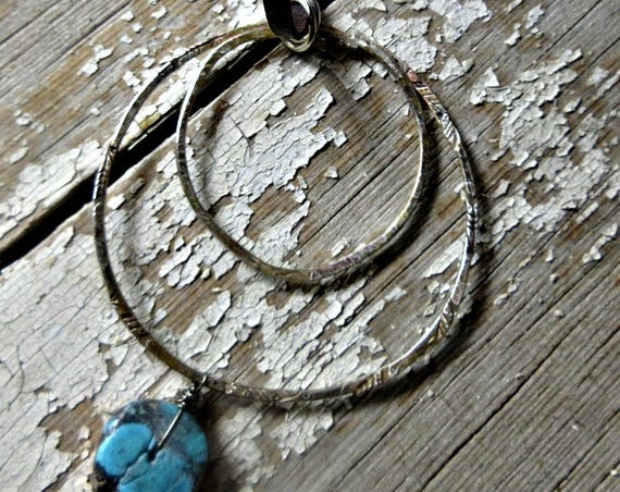 Double hoop with turquoise drop sterling necklace with leather cord, simplicity, statement, urban, cowgirl, artisan made, feathers embossed