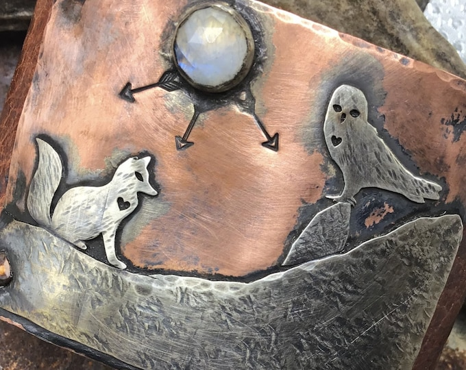 Fox and Owl cuff with a moonstone moon leather bracelet by Weathered Soul Jewelry, artisan crafted, nature lover, outdoor living, USA,art
