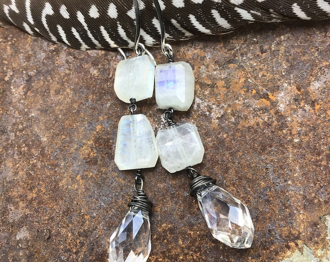 Long rustic sterling crystal and moonstone bling earrings by Weathered Soul , simplistic design,elegant style