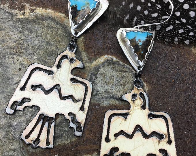White thunderbird and turquoise  earrings with a dab of turquoise by Weathered Soul