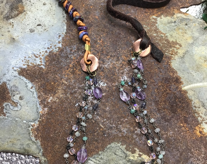 Three is a crowd  necklace by Weathered soul, gemstones galore, leathers, copper, eclectic boho style, funky and different but fun fashion