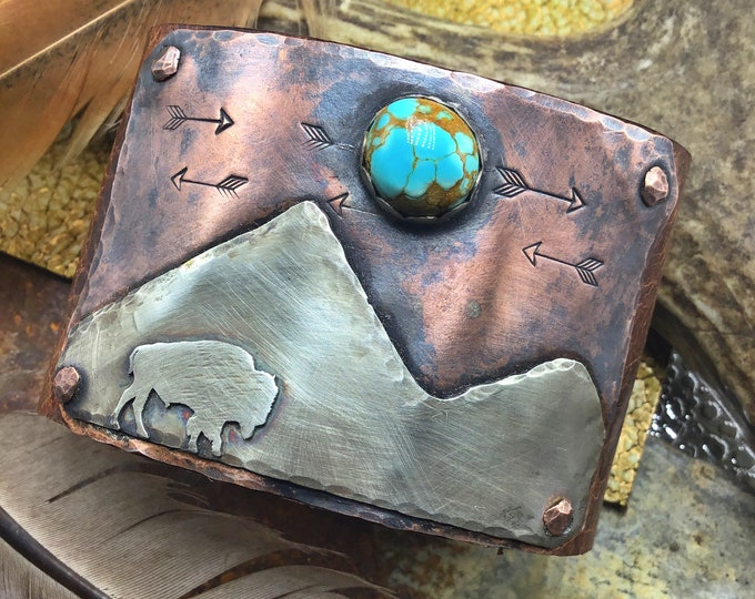 Where the buffalo roam cuff Made to order by Weathered Soul jewelry, leather,sterling,copper, bronze snap closure,artisan craftsmanship