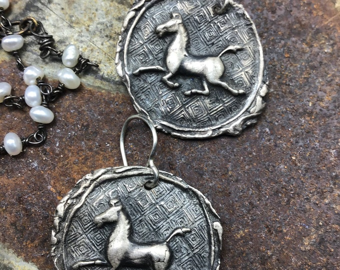 Prancing pony earrings , look like an old coin, oxidized PMC with sterling ear wires, rustic horse lover, equestrian,cowgirl