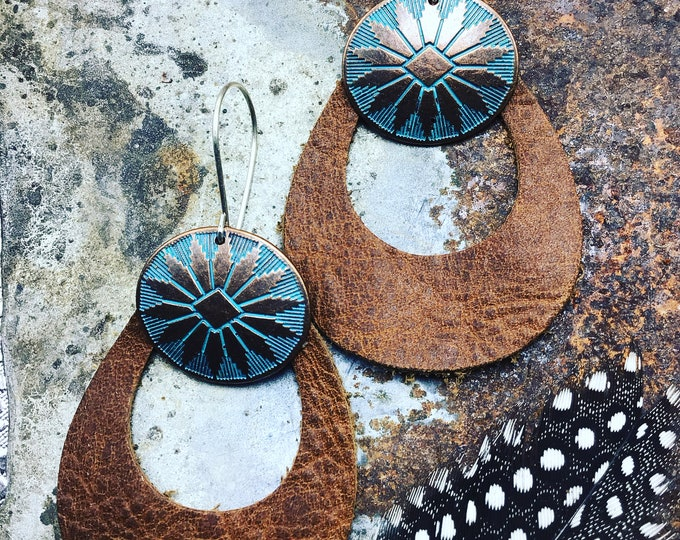 Light as a feather gorgeous Italian leather earrings with copper patina conchae and sterling ear wires by Weathered soul,western life