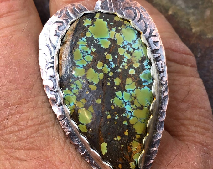 Be still my heart ring by Weathered Soul, artisan statement turquoise,heart shape embossed copper like tooled leather with sterling bezel
