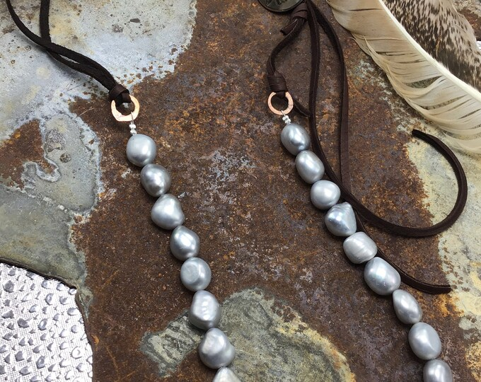 Gorgeous silver pearls mixed with soft chocolate leather with a special added vintage authentic nickel button, artisan cowgirl necklace