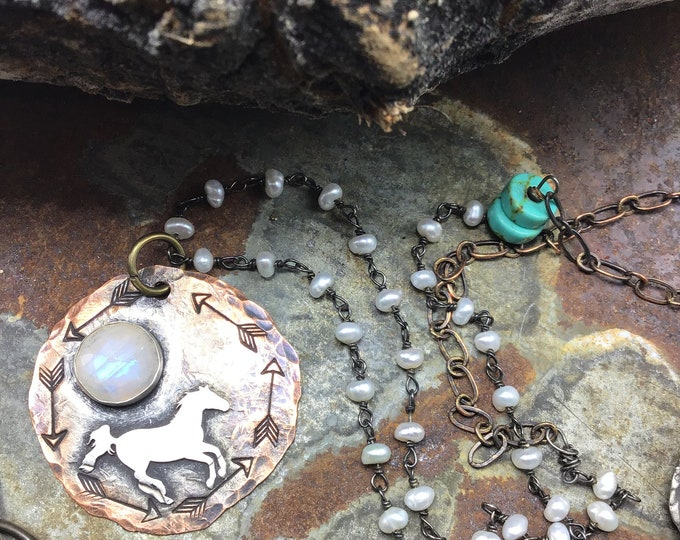 Sweet little running pony under the moonstone moon, copper and turquoise with some sweet dainty pearls set this necklace center stage