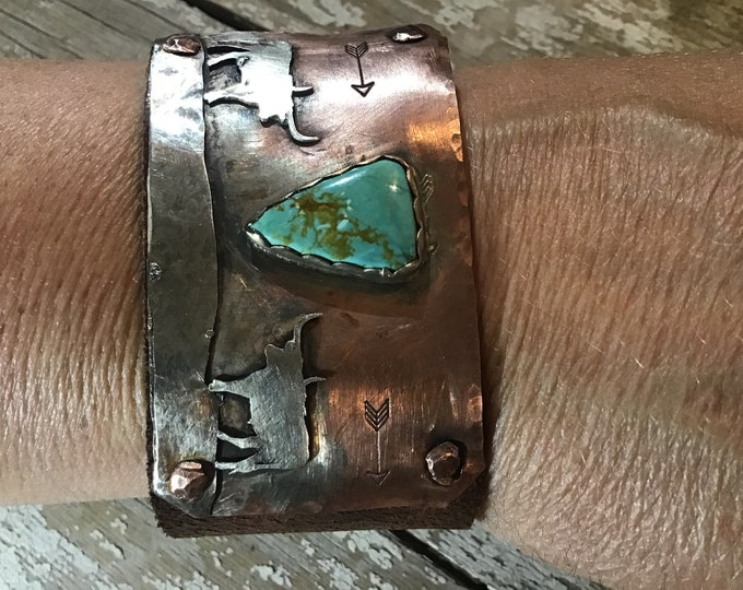 Longhorn stand off, Made to order,stones vary with each artistic hand crafted one at a time,cowgirl,bull,cattle,western,artisan cuff,USA
