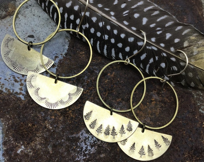 Simplistic bronze hoops with your choice of trees ,sun bursts, artisan made by Weathered Soul, minimalist, tree lover, urban chic,USA made