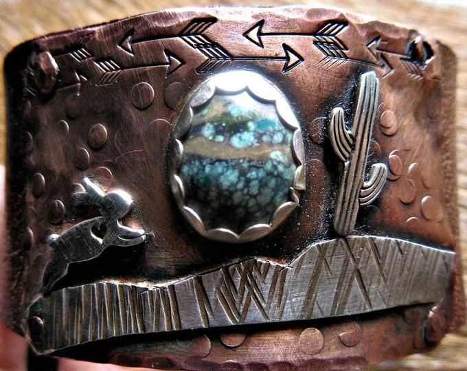 Desert Run Cuff by Weathered Soul Jewelry, OOAK, Rabbit, bunny, cactus, cacti, prairie, animals, cowgirl, urban, leather cuff, artisan made