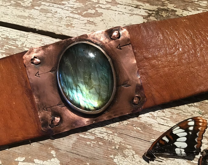 Flashy Labradorite on sterling and copper cuff, distressed vintage leather, statement cuff cowgirl, urban chic, artisan cuff, OOAK cuff, USA