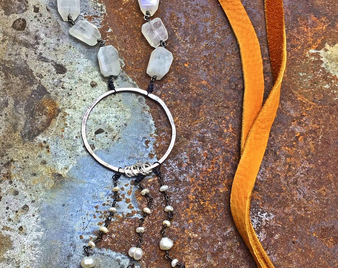Sweet serenity necklace by Weathered soul, pearls, turquoise,rustic hammered sterling hoop and beautiful soft elk leather, urban cowgirl