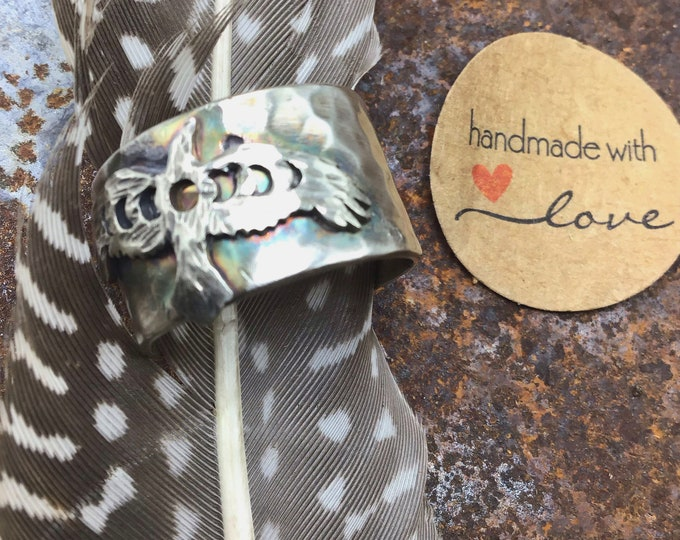 """Flying Raven wide band ring size 9 by Weathered Soul jewelry,  1/2"""" wide, sterling rustic hammered silver, bird lover, nature inspired"""