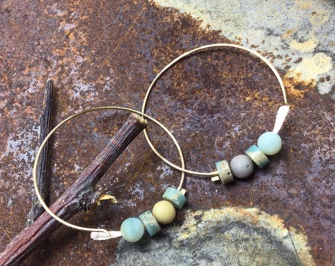Through the ear simple bronze medium hoops, amazonite, Peruvian opal, minimalistic,classic,simplicity,urban chic