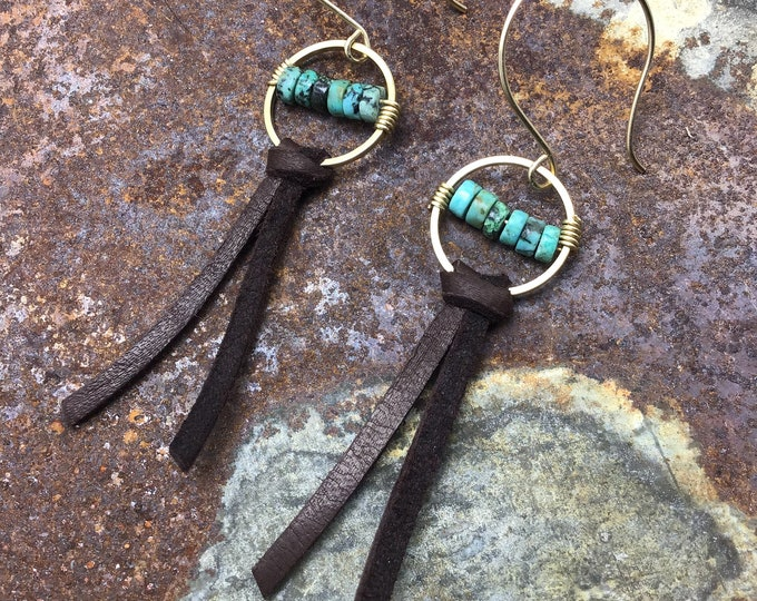 Tiny touch of cowgirl class earrings by Weathered Soul jewelry bronze and turquoise with a bit of soft chocolate leather, artisan crafted ..