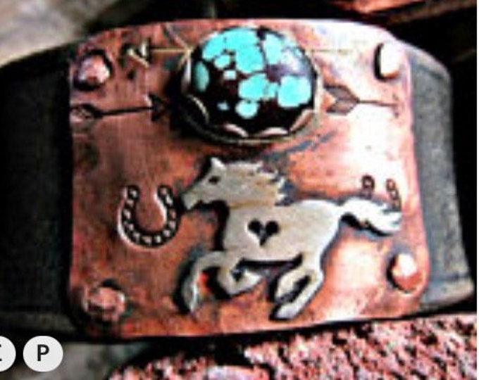 Made to order running pony cuff on vintage inspired leather
