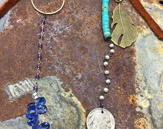 Long Voyage necklace, Weathered Soul, Kyanite, amethyst,pearls,moonstone and turquoise with vintage buffalo nickel and elk leather, cowgirl