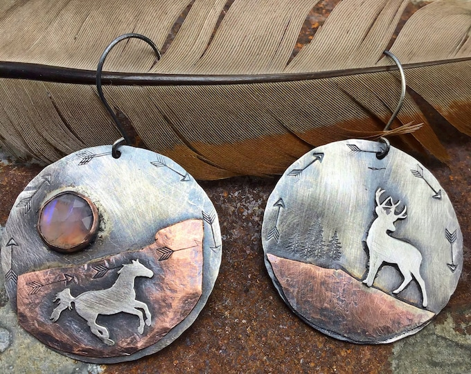 Reserved for Penny Running horse and silent buck by Weathered Soul jewelry , horse lover, buck, deer, outdoors,cowgirl earrings,artisan