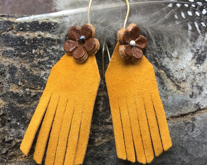 Sweet leather flower power artisan leather with leather bronze flowers, bronze ear wires,USA crafted