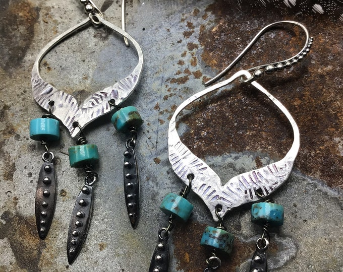 Rusticated hammered and stamped western inspired hoops by Weathered soul, ball ear wires and drops, chandelier style, western wedding