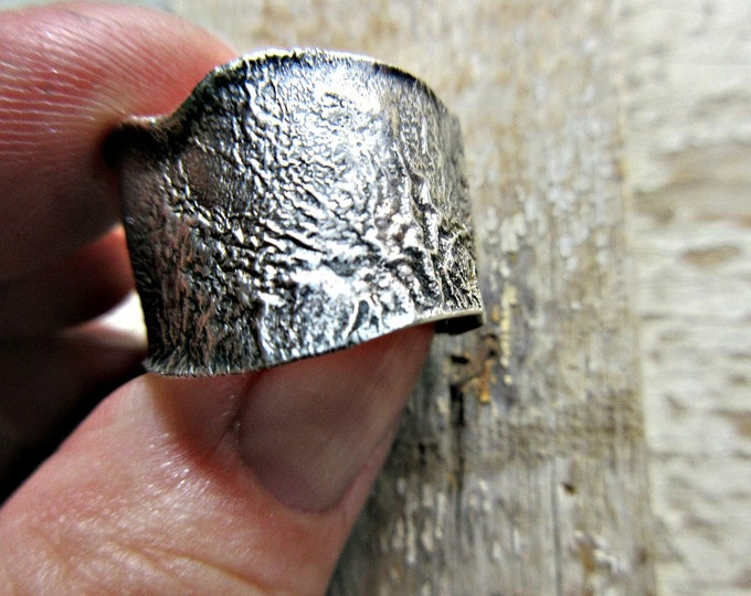 Wide band sterling rustic reticulated silver ring by Weathered Soul Jewelry, melted silver look, size 8.5-9, cowgirl, urban, high fashion