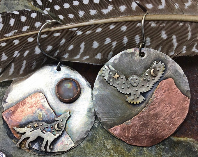 Coyote and flying owl make a great duo with these fun outdoor wildlife scenic earrings by Weathered Soul jewelry, artisan,rustic,USA
