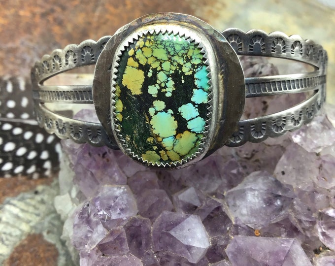 Wild one cuff with fun matrix colored turquoise on stamped sterling cuff style bracelet by Weathered Soul,cowgirl chic,artisan crafted