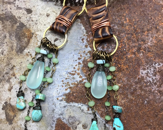 Boho Sally danglers, leather, peridot,chalcedony, and turquoise make up these long statement earrings by Weathered soul, bohowestern,