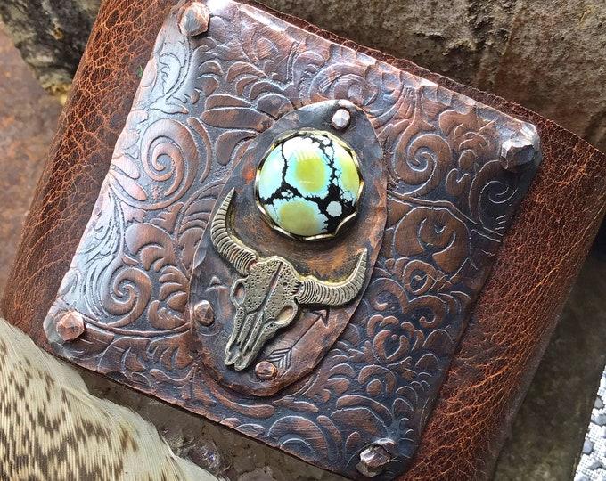Take no bull distressed leather cuff
