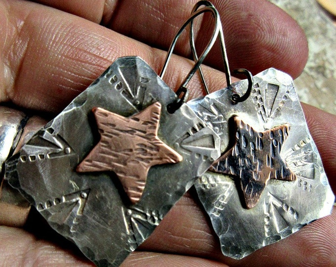 Rustic copper star on sterling silver embossed with a western design look, Weathered Soul jewelry, artisan made, celestial, western, cowgirl