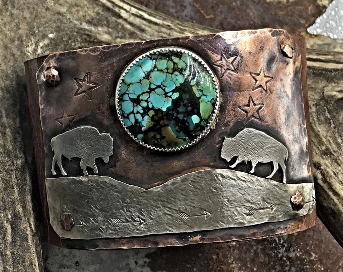 Made to order all turquoise varies Moonlight rendezvous leather and copper cuff bracelet , Bison, cowgirl, OOAK