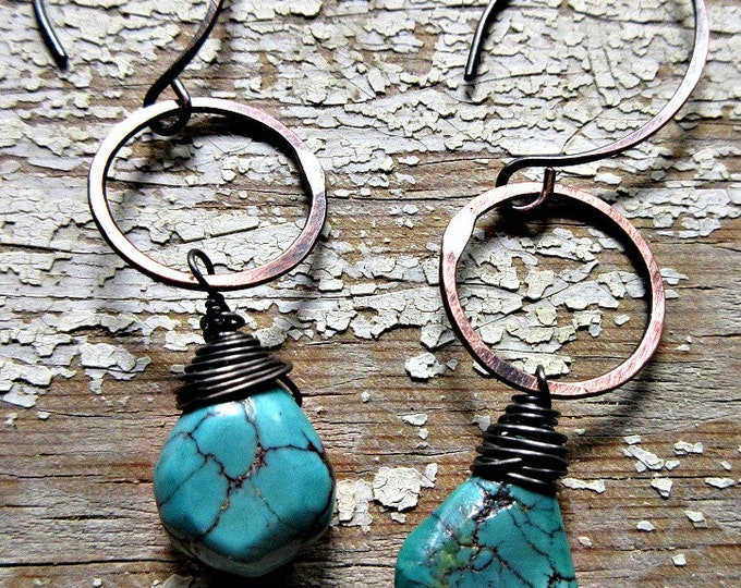 Copper hoops with turquoise wire wrapped rustic hammered oxidized, urban, cowgirl, matrix, high fashion, artisan made USA, earrings