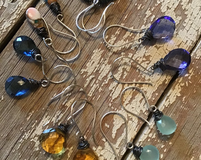 Rainbow dewdrops by Weathered Soul Jewelry, pick a color,dainty, gemstone, ladies gift, minimalistic,USA, simple style,