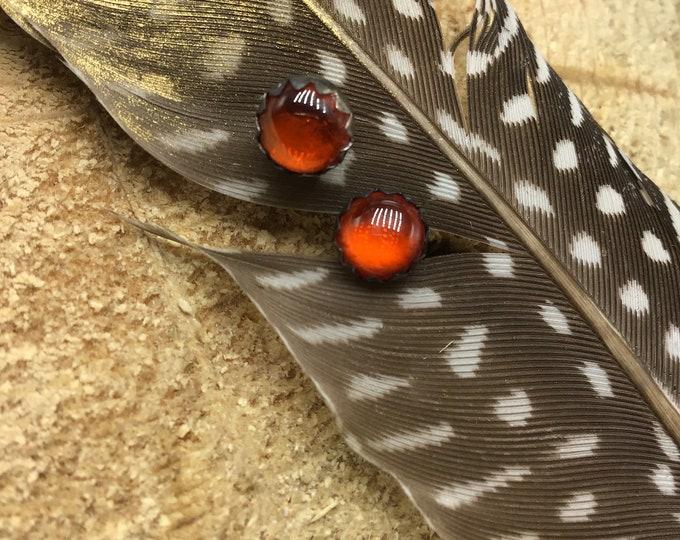 Dainty fire opal oxidized sterling stud earrings,bright orange,fall jewelry by Weathered soul 6mm size,minimalist,simplicity