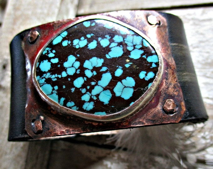 Whoa Black Betty Bam Alam!! MADE TO ORDER turquoise matrix distressed black cuff bracelet by Weathered Soul Jewelry, artisan cuff, cowgirl