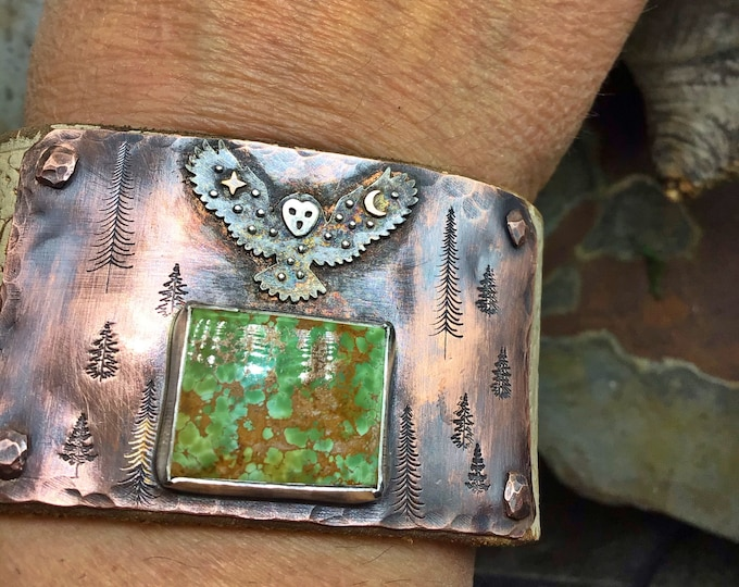 Turquoise forest cuff on white distressed leather with vintage buffalo nickel snap closure