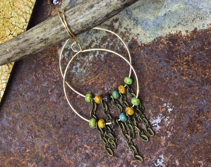 Simple fringe hoop earrings by Weathered Soul jewelry, ceramic muted beads sandwiched between bronze chain,urban chic,boho,minimalist